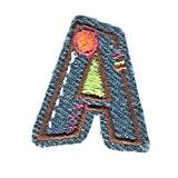 Coudre Thermocollant DIY Brodé Patch Couleur de Lettres de l'alphabet Lettres Vêtements Décoration (Bleu-a)