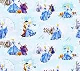 Coupon de tissu Fat Quarter 100% coton avec personnages Disney Cendrillon Bleu