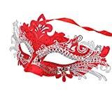 Coxeer Masque vénitien Mascarade Masque Halloween Princesse Masque visage femme (Rouge)