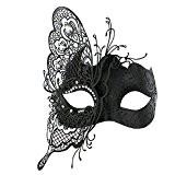 Coxeer Masque vénitien princesse Masque mascarade femme Masque Halloween Masque carnaval bal costumé (Noir)