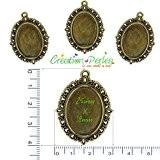 CRÉATION-PERLES 10 Supports Pendentifs Cabochons Ovale Métal Bronze 40 mm x 30 mm Plateau 25 x 18 mm