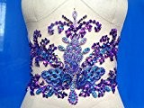 Cristaux à la main Garniture Patches Coudre Paillettes Perles Violet Strass Applique 43 * 19 cm pour Top Robe Jupe ...