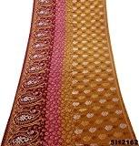 cru les femmes indiennes de tissu de soie sari mélange d'artisanat robe bollywood 5 cour saree