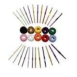 CurtzyTM 24 Crochets Colorés en Aluminium de 2 à 8mm avec 475m de Fil de Coton Coloré pour Crochet