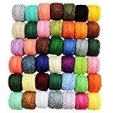 CurtzyTM 42 Bobines de Fil en Coton Coloré pour Crochet- 43 Mètres Chacune