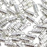 CurtzyTM Lot de 100 Fermoirs à Vis en Argent Plaqué pour Fabrication de Bijoux, Colliers, Bracelets