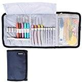 Damero Ergonomique Crochet Crochets Set, Crochet Accessoires Kit / rouleau sac de rangement Up avec Soft Grip crochet Aiguilles et ...