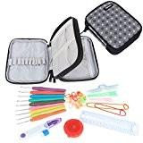 Damero Kit de crochet ergonomique, kit d'aiguille à tricoter, fermeture éclair avec 9pcs de 2mm à 6mm, poignées souples et ...