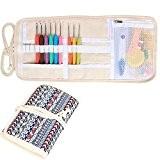 Damero Nouveau ergonomique Crochet Crochets Set, Crochet Accessoires Kit / rouleau sac de rangement Up avec Soft Grip crochet Aiguilles ...