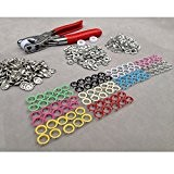Dealglad Lot de 100 bagues dentelées en cuivre et pince pour fabrication de boutons-pression 10 couleurs 9,5 mm