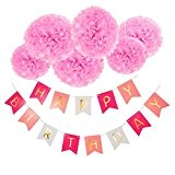 Deco Joyeux Anniversaire, Wartoon HAPPY BIRTHDAY Bannière Banderole Joyeux Anniversaire + 6 Paquets rose Pompon Papier de Soie Boules de ...