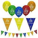 Décorations ballons et fanions Célébration du Ramadan avec texte Eid MubarakMulticolore