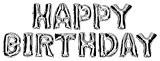 DEKOREX ® HAPPY BIRTHDA Ballon gonflable Guirlande de lettres et brillants feuille de ballons de 40cm ballon d'hélium Décoration argent