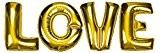 DEKOREX ® LOVE Amour Ballon gonflable Guirlande de lettres et brillants feuille de ballons de 100cm ballon d'hélium Décoration or