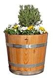 Demi tonneau de marronnier - comme bac à fleurs, pot de fleurs, jardinière - en bois massif de marronnier huilé ...