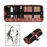 Dessin de Croquis Crayon Croquis Lot de 18Stylo Gris anthracite avec rouleau jusqu'Toile Pochette de transport Crayons Gomme Craft Couteau ...