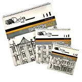 Dessin & Esquisse fil lié livres - Pack de 3 Tailles - Papier Cartouche Professionnel - par Design Studio