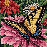 Dimensions Kit Canevas, Papillon Sur Zinnia