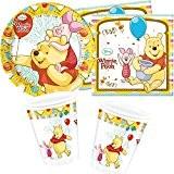 Disney/Carpeta® Winnie Sweet Tweets Ensemble de vaisselle jetable pour anniversaire d'enfant 36pièces: assiettes en carton, serviettes, gobelets, décorations Thème: Winnie ...