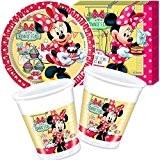 Disney Minnie Café Ensemble de vaisselle jetable pour anniversaire d'enfant 36pièces: 8assiettes en carton+20serviettes+8gobelets+décorations Disney Thème: Minnie Mouse Rose
