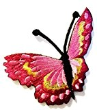 Ecusson - papillon - rose - 7.9x6.3cm - patches brode appliques embroidery thermocollant