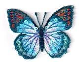 Ecusson thermocollant Papillon Paillettes Sequins Coloris Bleu