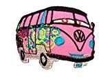 Ecusson - VW Bus Hippie - rose - 5,8x7,4cm - patches brode appliques embroidery thermocollant