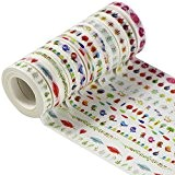 EDGEAM Lot de 6 Ruban Adhésif Washi Masking Tape Bandes Décoratif 8MM X 9M (Design-A001)