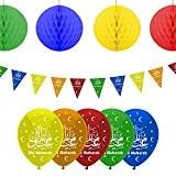 Eid Mubarak Ramadan Décoration Ballons, fanions et boules en nid d'abeille à suspendre (Multicolore)