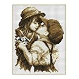 Eizur DIY main en motif Point De Croix premier baiser broderie kit préimprimés Maison Salon Chambre Décoration Taille 32*40cm--Sans sac ...