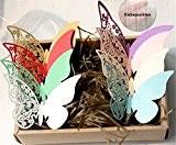 ElecMotive Lot de 80 en 8 couleur Papillons 3D Stickers muraux Carte de Verre Marque Place Forme de Papillon Ajouré ...