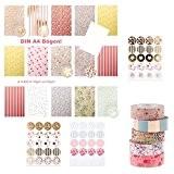 Élégant 155pièces?: 30feuilles papier à 120Autocollants Ronds + 5Masking Tapes en or rose pastel
