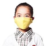 Enfants PM2.5 poussière anti-bactérien Visage Bouche Masque + 3 Filtre, Jaune