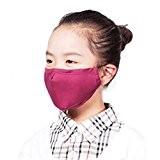 Enfants poussière anti-bactérien Visage Bouche Masque + 3 Filtre, Rose Rouge