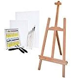 Ensemble complet de peinture acrylique - Avec chevalet pour enfant + accessoires et 18 tubes de peinture acrylique
