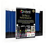 Ensemble de crayons de couleur (26 pièces) pour dessin et croquis - Bâtons de graphite et de charbon de bois ...