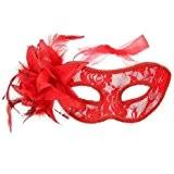 EQLEF® Plume Masque vénitien dentelle d'oeil de fleur boule de mascarade de partie de costume costumé (Rouge)