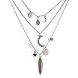 eshion Jewelry feuilles multicouche Moon Star Collier Pendentifs Style Bohême Multi couches Collier Manteau long collier chaîne ras du cou ...