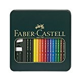 Faber-Castell 110040 Boîte métal Mixed Media Polychromos (12 crayons Polychromos + 2 crayons graphite Castell 9000 HB, 3B; 1 taille-crayon, ...