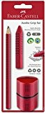 Faber-Castell Jumbo Grip 580021 - Lot de 3, rouge