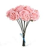 FACILLA® Bouquet 10pcs Fleur Artificiel Rose en Mousse Rosé Déco Mariage Maison