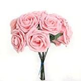 FACILLA® Bouquet 10pcs Fleur Artificiel Roses en Mousse Rosé Déco Mariage Maison