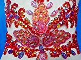 Fait main en cristal rouge/Patches à coudre Paillettes Perles Strass Applique 43 * * * * * * * * 19 cm ...