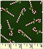 Fat Quarter Noël Classics Candy Canes sur Coupons de tissu en coton Vert