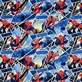 Fat Quarter vitres Marvel Spiderman Bleu 52280 Ressorts de tissu en coton