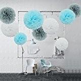 feelshion 9Papier de soie Pompoms pour fête d'anniversaire bébé Rainshower Baby Shower Communion comme décoration blanc gris bleu clair (Ø35cm ...