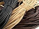 Ficelle en cuir rond 5mm Longueur/Couleur?: Au Choix, noir, 1 mètre