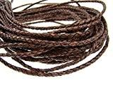 Ficelle en cuir rond tressé 4mm antique marron foncé-Longueur?: Choix, Cuir, Antik Dunkelbraun, 5 mètres