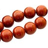Fil de 48 perles rondes 8mm 8 mm en Jaspe rouge brechite
