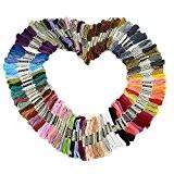 Fils à Broder, LIHAO Lot de 100 échevelles Fils à Broderie Multicolores en Polyester-coton pour Point de Croix